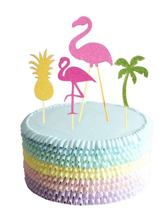 플라밍고 파인애플 코코넛 나무 케이크 토퍼 바베큐 하와이 열대 여름 파티 음식 칵테일 웨딩 컵케익 Toppers 스틱 장식