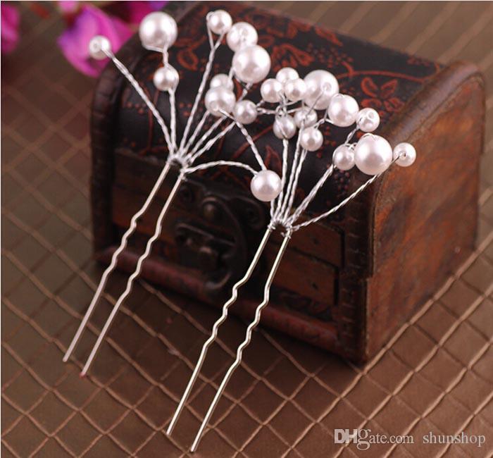 Nouvelle mariée épingles à cheveux clips accessoires pour mariage mariée chaude demoiselle d'honneur perles blanches et rouges pièce de cheveux épingle peigne clip accessoire
