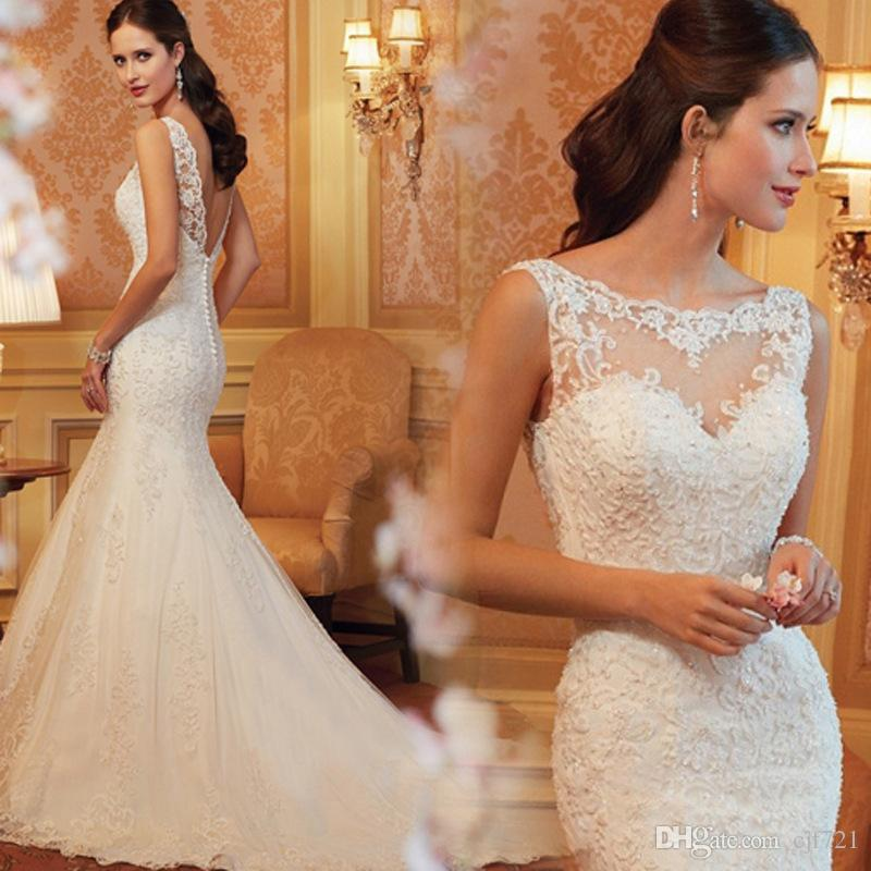 Marriage Dress for Bride Lace Sleeveless Square Shoulder Wedding ...