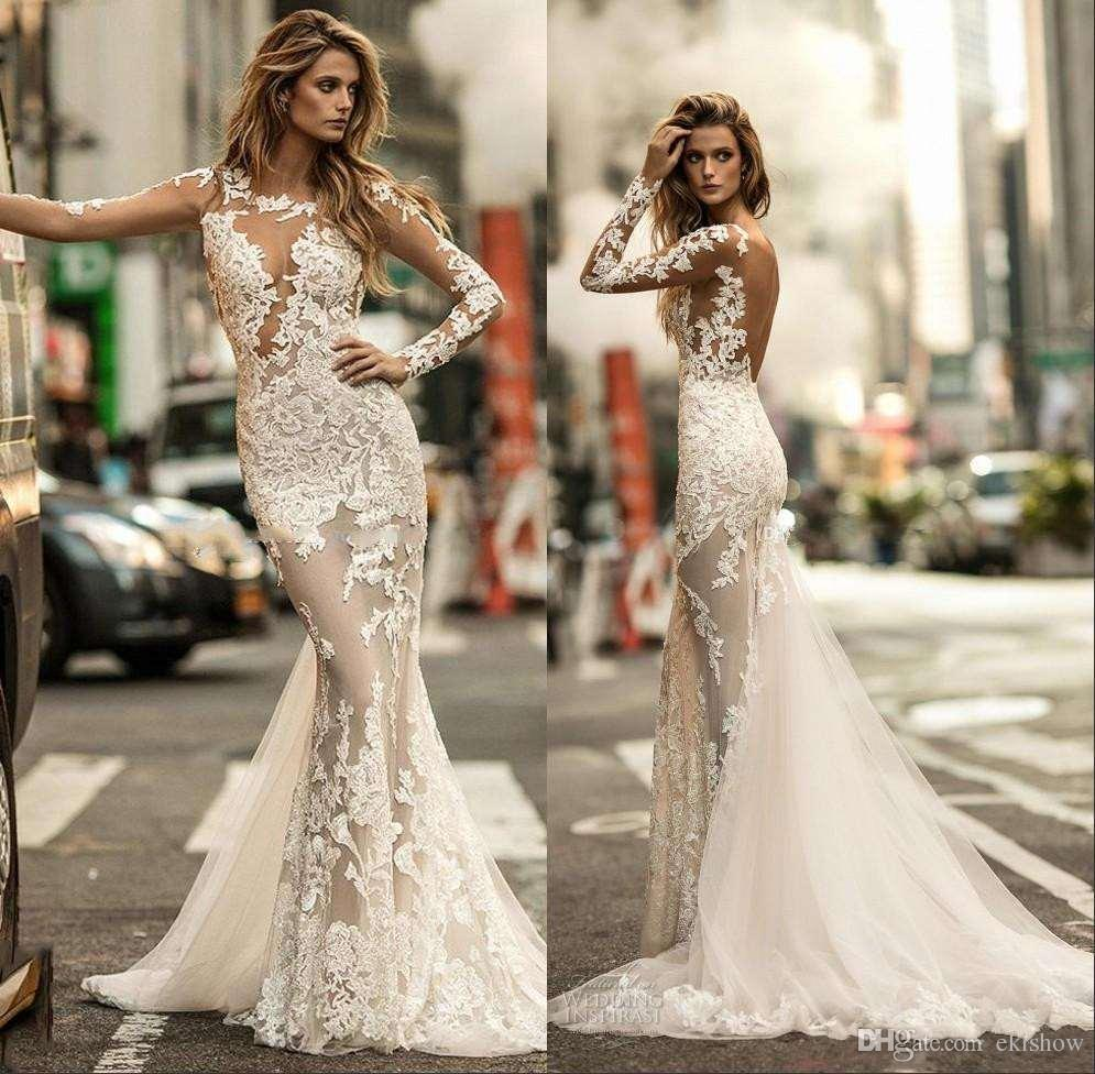 2017 New Long Sleeve Applique Mermaid Wedding Dresses Bridal Illusion Jewel Neckline Fit And Flare Heavily Embellished Sweep Train Gowns