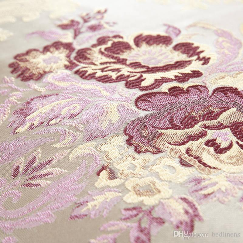 Noble Purple Cotton Silk Flower Bedding Set Quilted Bedspreads King Size Jacquard Embroidery Satin Comforter Cover 4/Bed Linens Covetlet