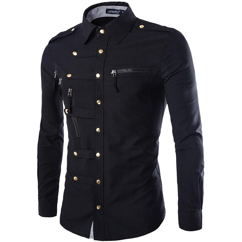 Good Prices offer discounts 60% clearance Wholesale- Brand Men Shirt 2015 Fashion Design Mens Slim Fit Cotton Dress  Shirt Stylish Long Sleeve Shirts Chemise Homme Camisa Masculina