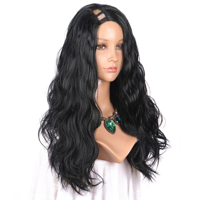 U Part Human Hair Wigs Natural Wave Malaysian Peruvian Indian Brazilian Virgin Hair 180% High Density Long Wavy Glueless Lace Wigs 8-24 inch
