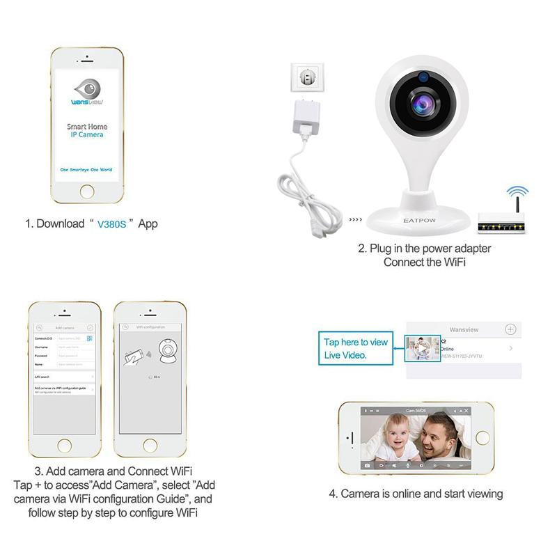 New ! mini Pan Tilt Wireless IP Camera WIFI 720P CCTV Home Security Cam Micro SD Slot Support Microphone & P2P Free APP ABS Plastic