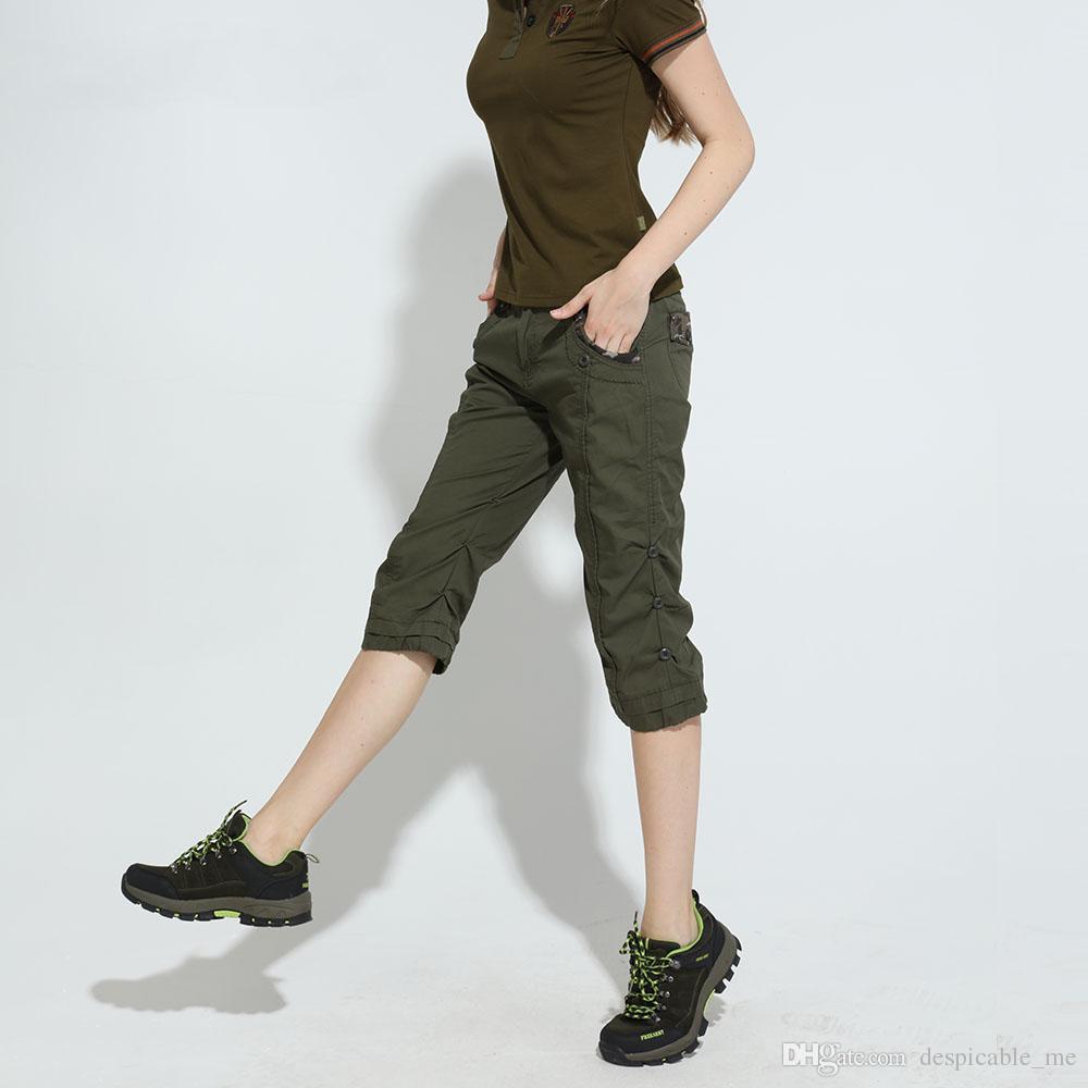 27d036f467 Compre Ejército De Camuflaje Pantalones Cortos Delgados Feminino Pantalones  Cortos Mujer De Cintura Alta Verano Mujer Joggers Shorts Capris Tallas  Grandes ...