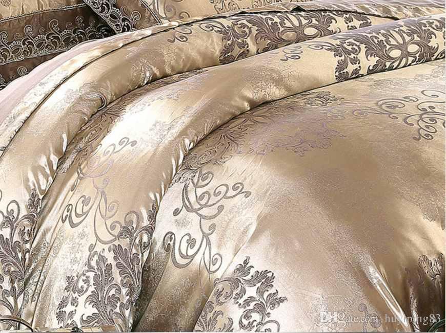une literie de luxe café Or argent jacquard mis lit tache queen / king size set 4 / housse de couette en dentelle de soie de coton ensembles tenture textile à la maison