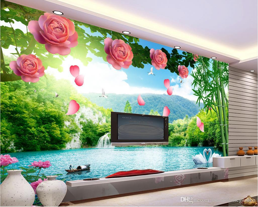 Photo Wallpaper For Walls custom any size 3d flower vines landscape tv background wall