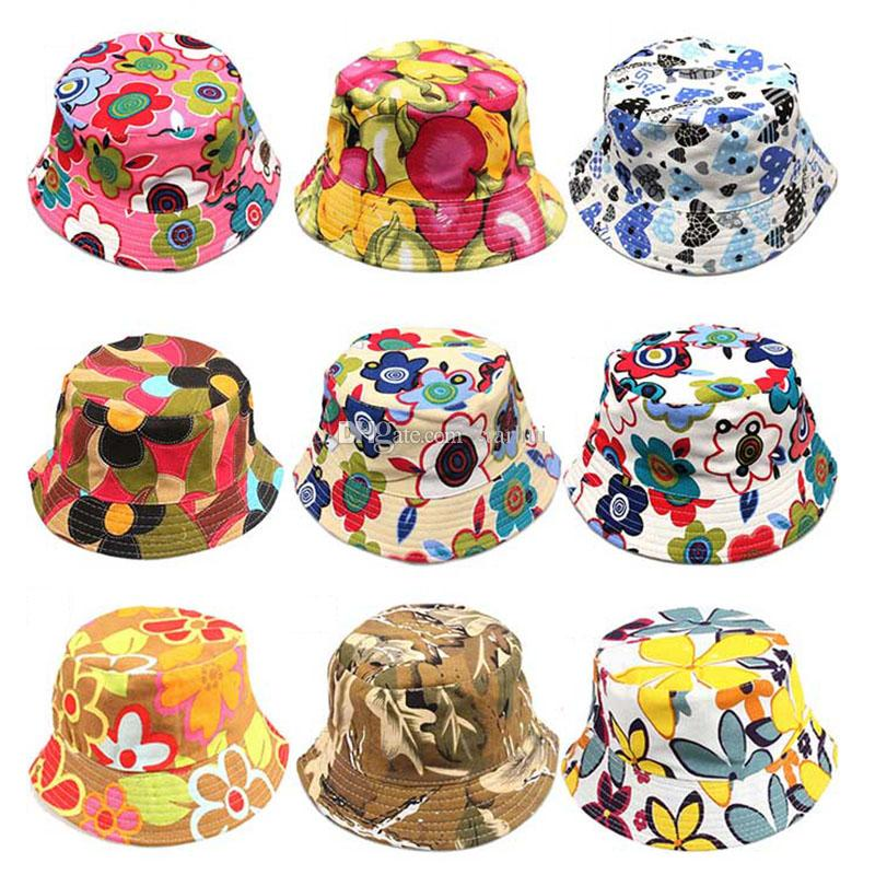 New Girls Floral Sun Hats Children Kids Baby Visor Sting Brim Casual ... 3fdbe066b9d4