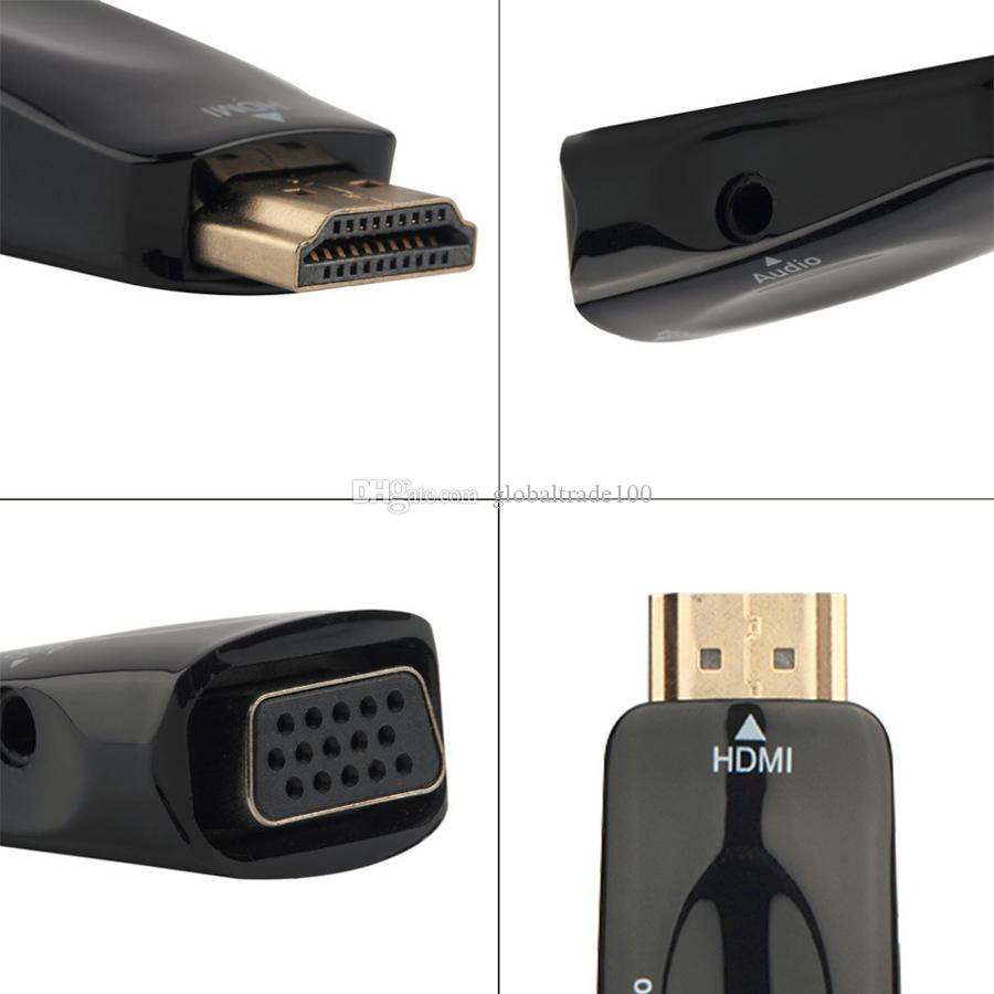 HDMI to VGA Adapter With Audio Cable Male To Female 1080p HDMI to VGA Converter For PC/HDTV TV BOX