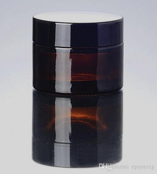 Kozmetik Özel 20g Amber küçük Cam Kavanoz stash kapları ile siyah altın gümüş balmumu kozmetik krem jarcontainer Kapakları