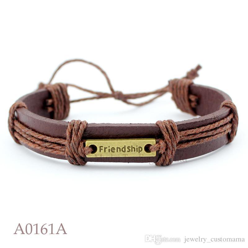 ANTIQUE BRASS SILVER FRIENDSHIP CHARM Adjustable Leather Cuff Bracelets for Men & Women Friendship Punk Casual Jewelry