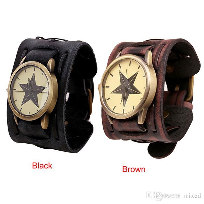 Uomo cool orologio 2016 nuovo stile retrò punk rock marrone grande cinturino in pelle braccialetto polsino orologio maschile orologio relógios masculino