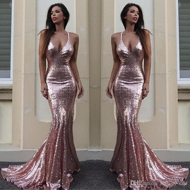 06dcde381dd 2018 New Pink Mermaid Prom Dresses Sequined Spaghetti Straps Floor Length  Backless Sexy Formal Evening Party Gowns Custom Made Sexy Long Prom Dresses  Short ...