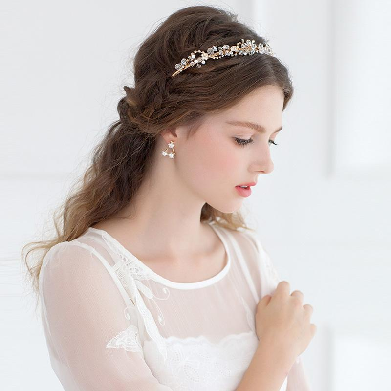 Wedding dress hair accessories bridal crystal headband gold flower wedding dress hair accessories bridal crystal headband gold flower head wear high quality hairbands for women wear wedding accessory headband hair flower junglespirit Image collections