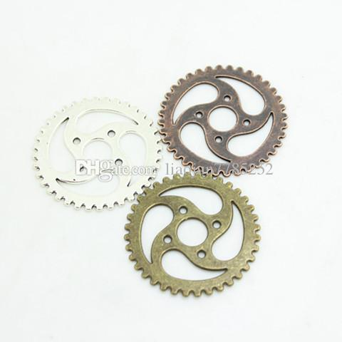 Sweet Bell Minimo ordine 10 pezzi 40mm Tre colori placcato Vintage Metal Lega grande Gear Charms Gear Jewerly D0464