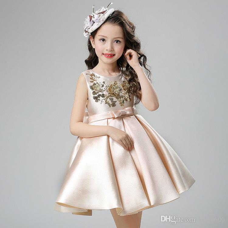 Ball Gown Short / Mini Satin Boat Neck Cheap Champagne Flower Brithday Girl Dresses for Wedding Brithday Dresses with Sequins