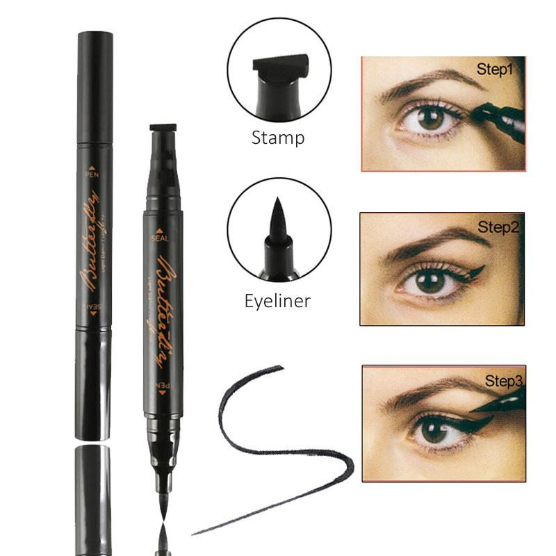GENAVIF Butterfly Light Dance Winged Eyeliner Stamp Black Waterproof Long Lasting Liquid With Stamps Tool Best Makeup Eyebrow From