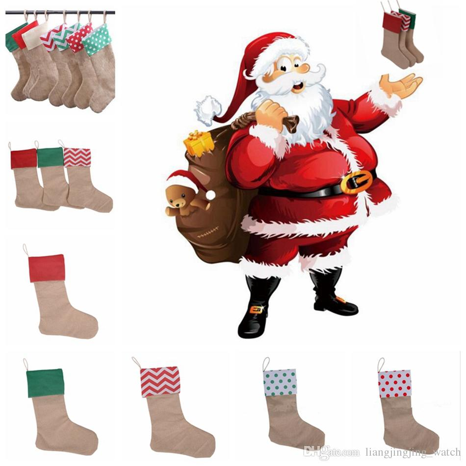 Christmas Canvas Stocking Gift Bag Stocking 30*45cm Christmas Tree Decoration Socks Xmas Stockings 9 Styles OOA2537