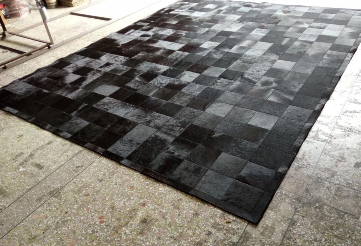 Superbe Black Fur Patchwork Cowhide Area Rug Classic Squares Design No. 2550 Black Cowhide  Rug Cowhide Patchwork Rug Area Fur Rug Online With $2386.94/Piece On ...