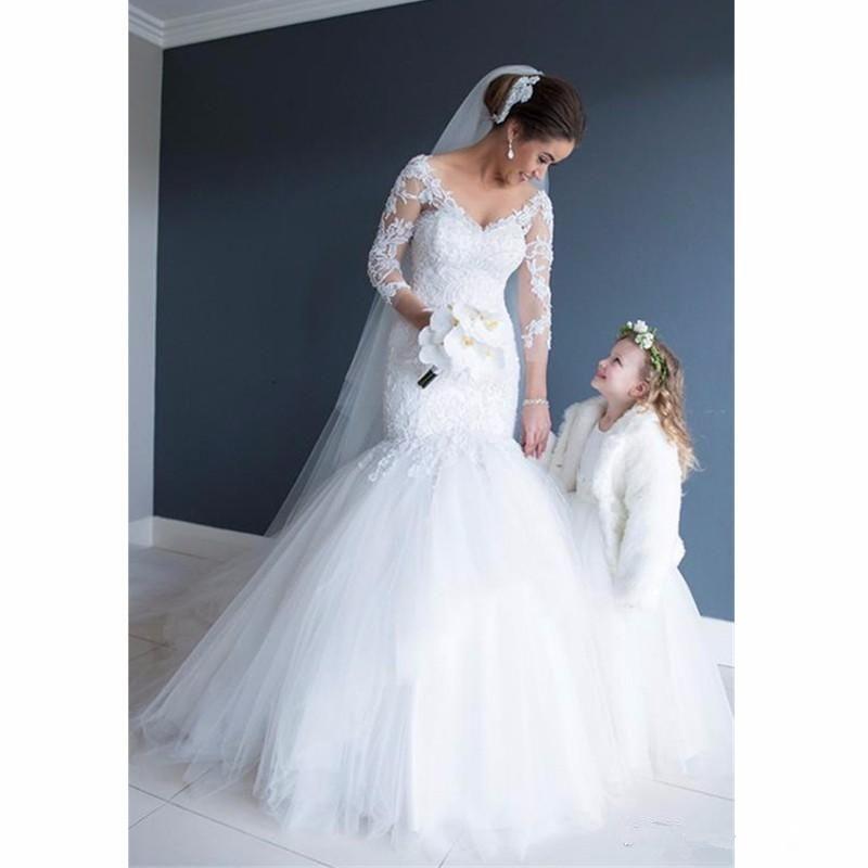 Beautiful Mermaid Wedding Gowns: 2018 New Romantic Lace Mermaid Wedding Dresses Sheer Long