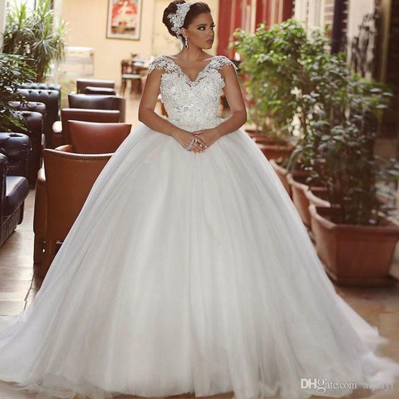 Saudi Arabic Dubai Hot Lace Spaghetti Straps Ball Gown Wedding ...