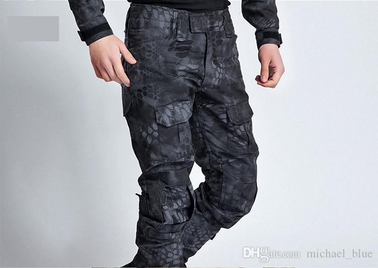 Pantalon de combat tactique Pantalon d'uniforme de grenouille de Multicam Pantalon d'armée de camouflage Pantalon de paintball d'Airsoft Camo avec des genouillères