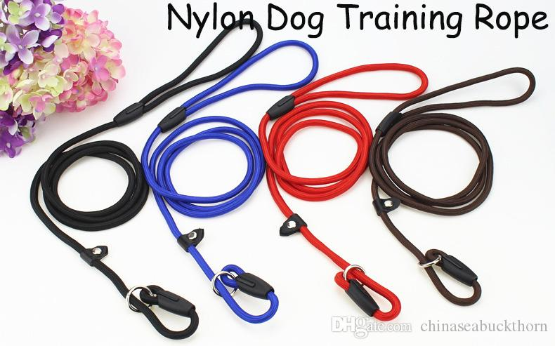 Nylon Rope Dog Whisperer Cesar Millan Style Slip Training Leash Lead and Collar Red Blue Black Colors For Medium Breeds 0.8*140cm Wholesale