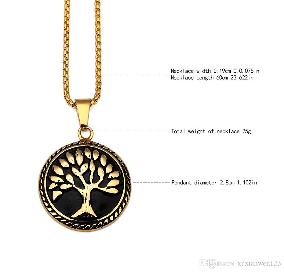 Titanium Steel Retro Tree Of Life Pendant Necklace Vintage Wisdom Tree With Chain Hip-hop Jewelry Men Women Christmas Gift