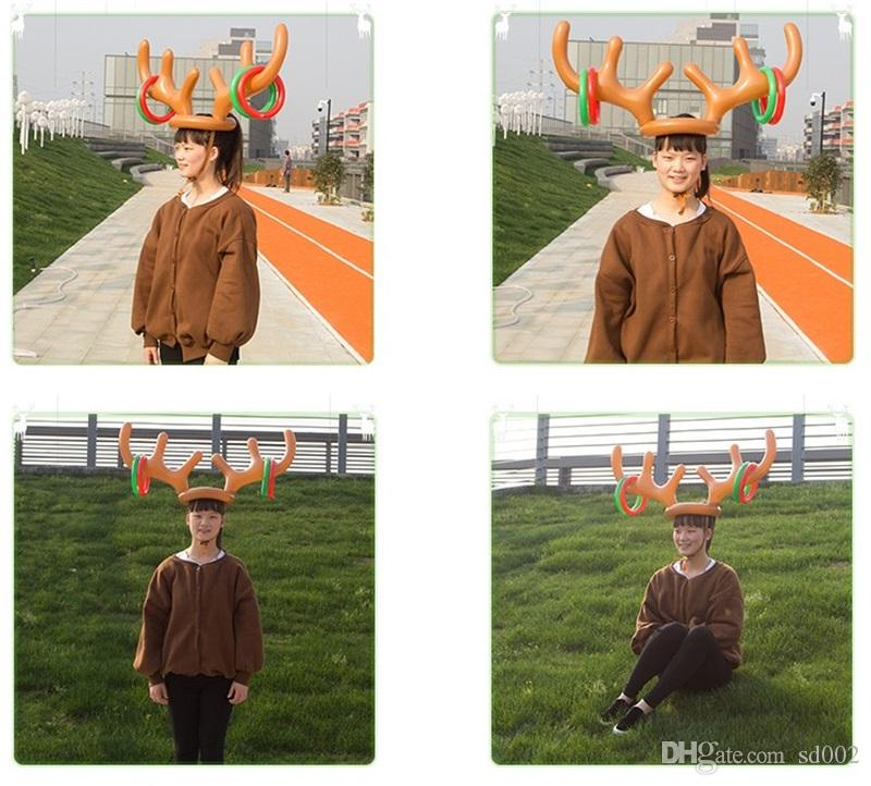 Inflatable Reindeer Antler Hat For Children Christmas Toy Headwear Cap Accessories Party Articles Kid Gift 5 94zb C R