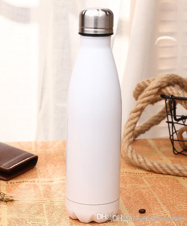 Acero inoxidable Forma Cola botella de agua de botellas de vacío Botellas y tazas de deportes al aire libre Vasos caldera 500ml OEM de la ayuda de moda