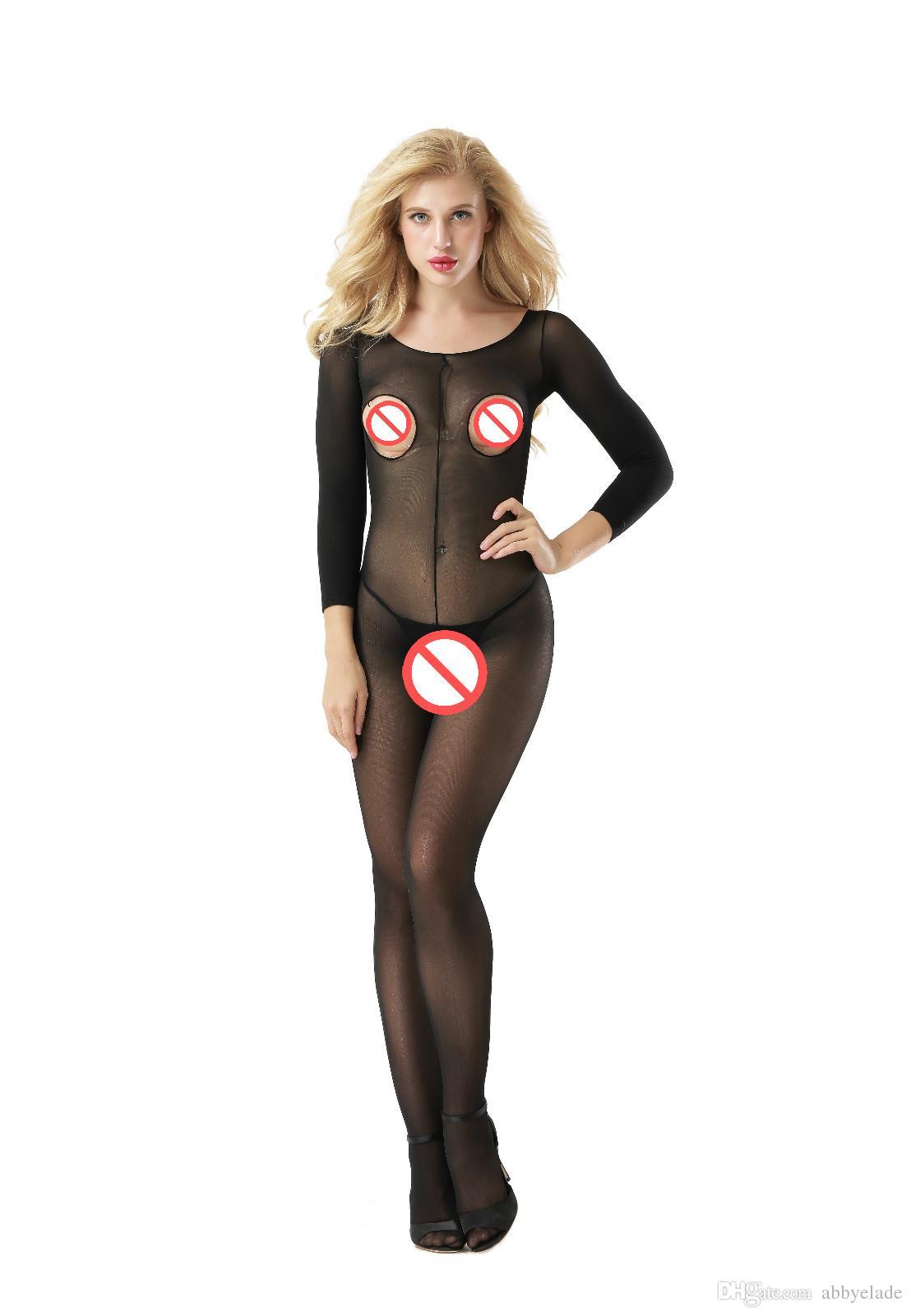 Nuevo Sexy Body Medias transparentes Medias Sexy UniSex Busto abierto Ver a través de medias del cuerpo Crotchless Bodystcoking Sexy Pjs