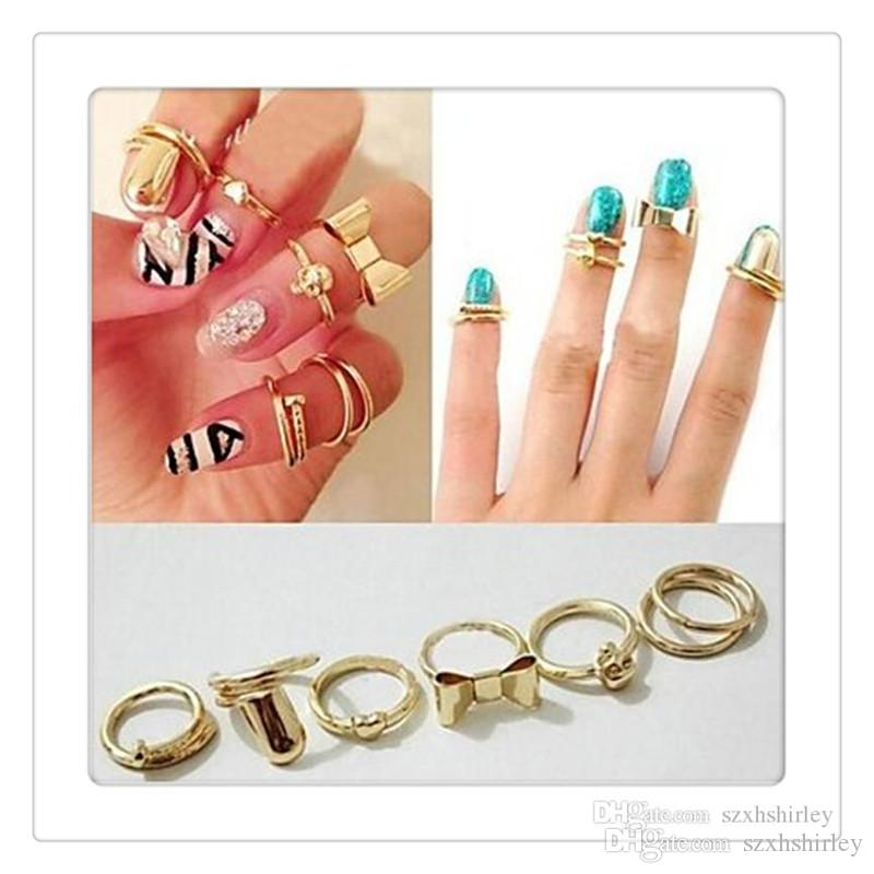 Wholesale Fashion Finger Rings Set Vogue Gold Skull Bowknot Heart ...
