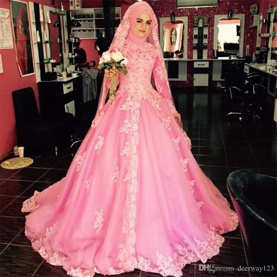 Großhandel High Neck Long Sleeves Muslim Rosa Brautkleid Mit Kopftuch  Appliqued Tulle Brautkleid Naher Osten Arabische Braut Kleider Von  Deerway20,