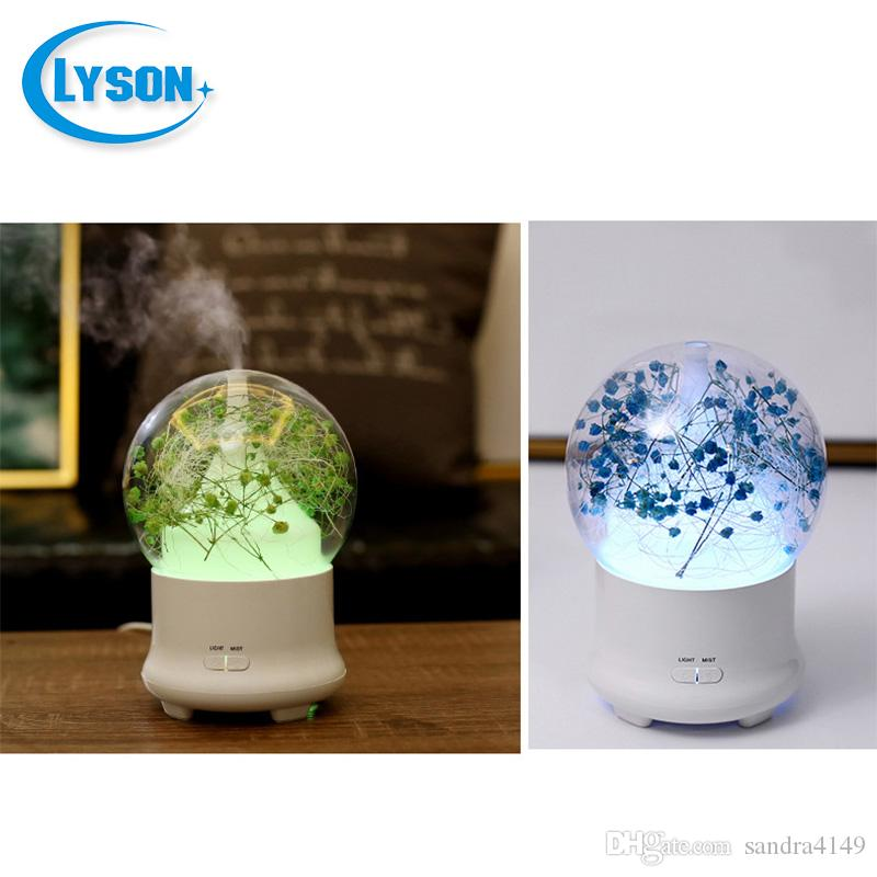 Preserved Fresh Flower -changing LED Ultrasonic Aroma Air Humidifier Mini Essential Oil Diffuser 100ml Baby's Breath Green