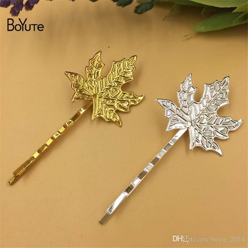 BoYuTe 32MM Maple Leaf Hair Pins Metal Iron Diy Hair Jewelry Parts & Accessories