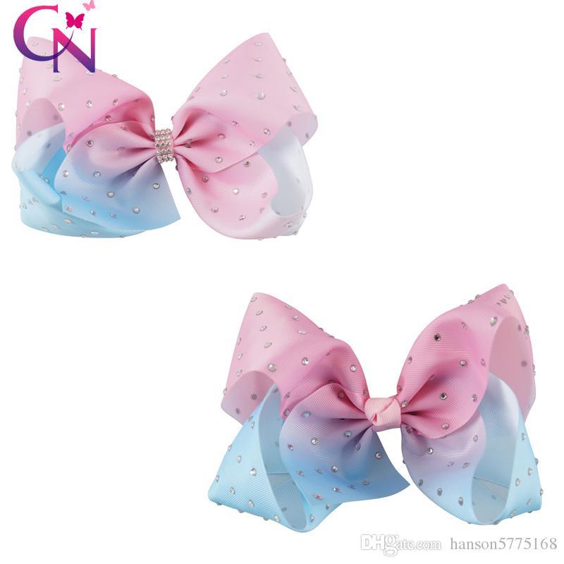 Jumbo 8 Inch Hair Bow Diamante Hair Bows Baby Hair Clips Rhinestone ... 498261d5db8f