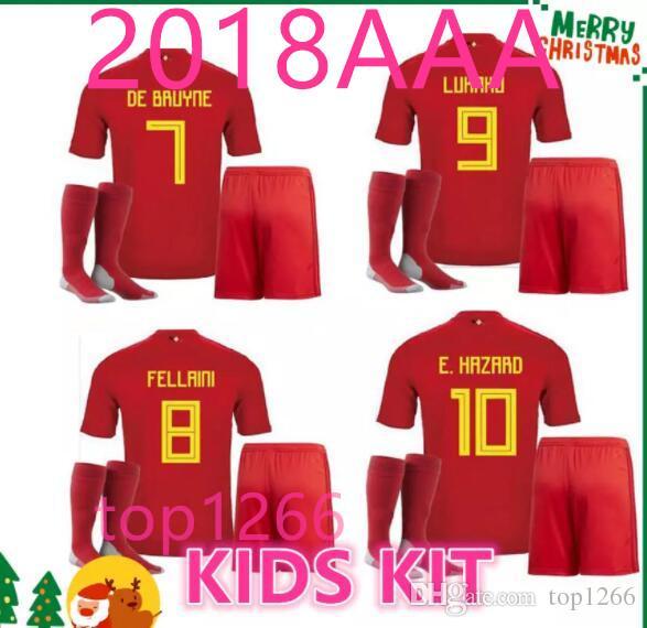 2018 A2018 Belgium Kids Kit Child Boy Home Red Lukaku Fellaini E Hazard  Kompany De Bruyne Soccer Jersey Belgium Thailand Quality Football Shirt  From Top1266 ... e4d010e32