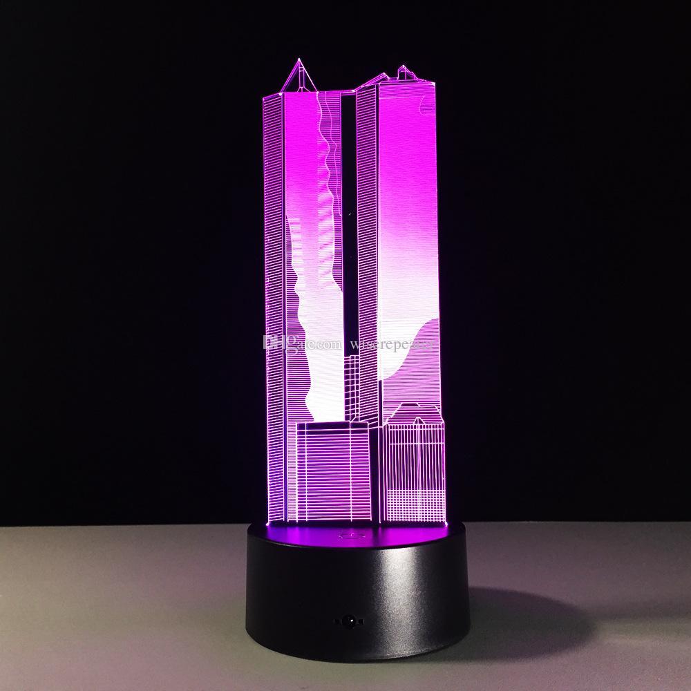 La iluminación nocturna de la lámpara de la ilusión óptica del edificio 3D DC 5V carga por USB la 5ta batería Dropshipping que envía libremente