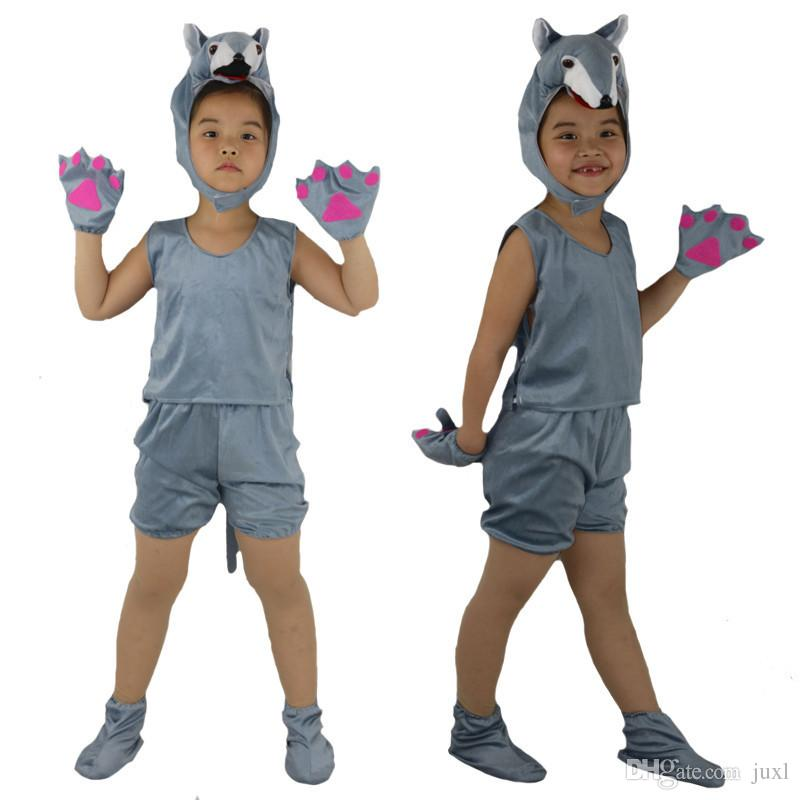 Kids Children Cosplay Animal Theme Costume Fox Bear Ant Tiger Wolf Mouse Rabbit Monkey Short Sleeved Clothing Birthday Party Gift