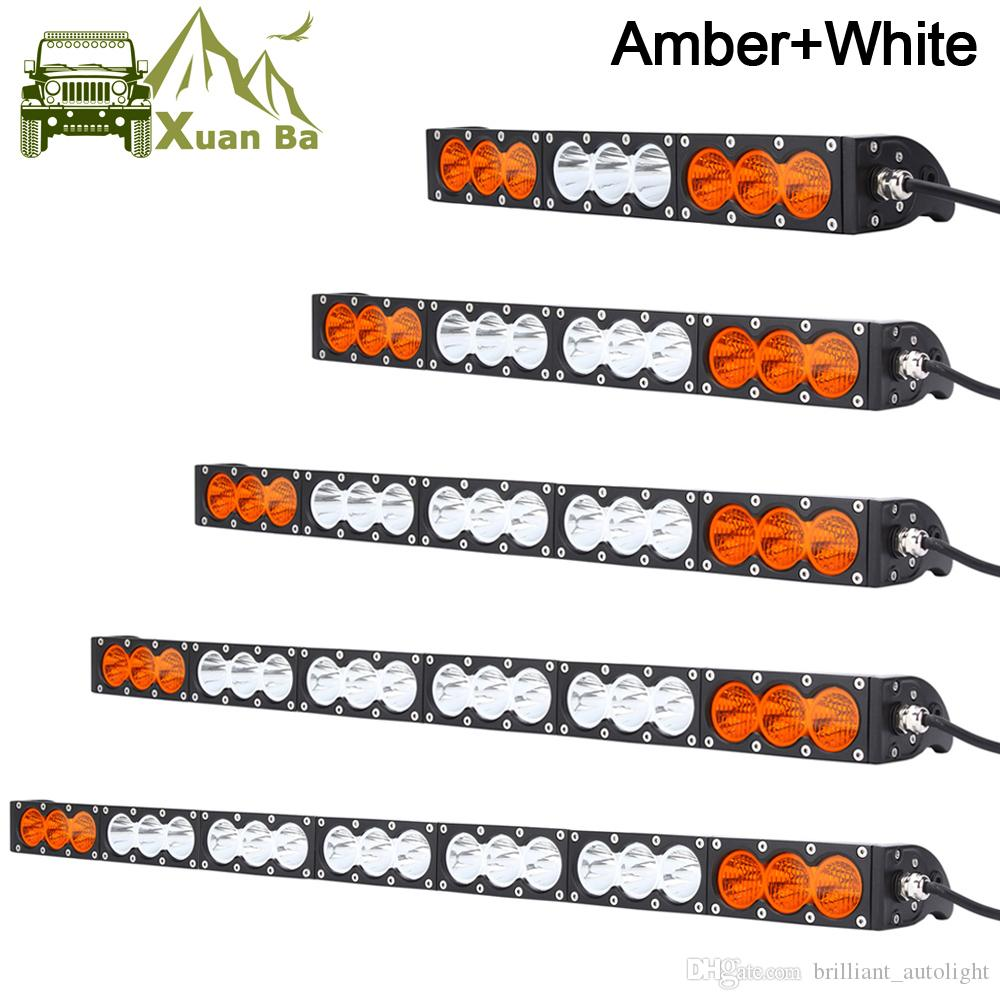 Una sola fila Slim 10W / Pcs Offroad LED Light Bar para camión Atv Uaz 4x4 Off Road remolque Combo Beam ámbar White Warning Barra Amarillo Faros antiniebla