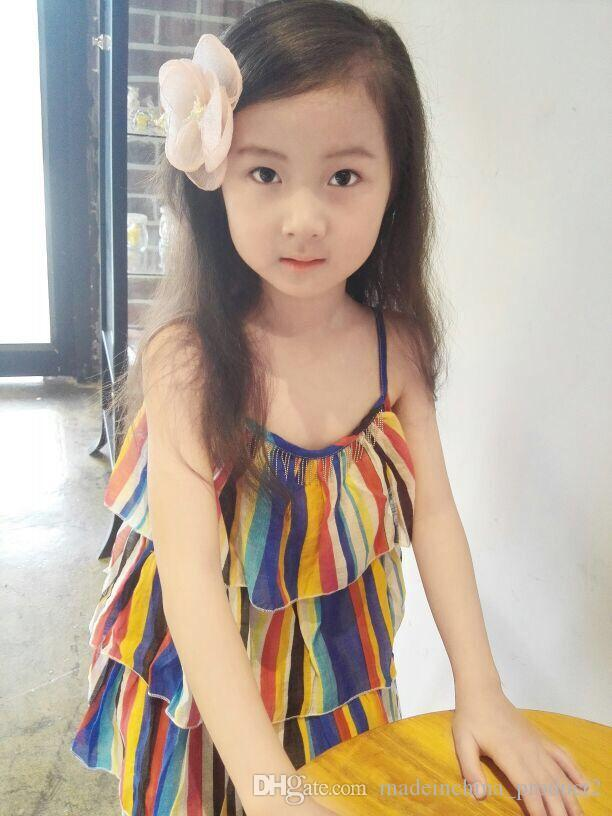 2017 Summer Style Chiffon Wraped Clips Barrettes Princess Flower Side Hairpins Childrens Hair Clip for Baby Kids Girl