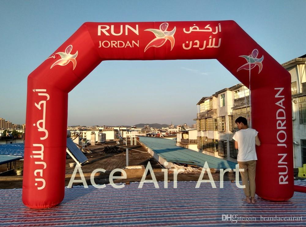 2018 new designed inflatable Advertising Arch,full red archway,start finish line For Italy night run