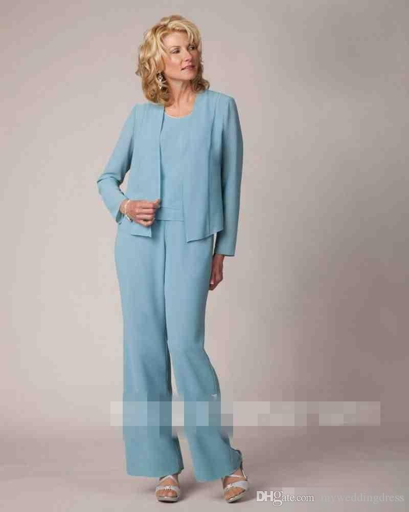 2017 Light Blue Chiffon Mother Of The Bride Suits With Long Sleeve ...