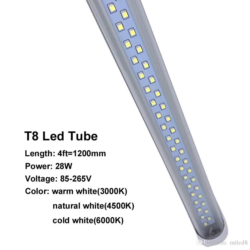 Vorrat in US LED T8 Röhren 4FT 28W 2900LM CREE SMD2835 G13 192LEDS 1.2m doppelte Reihe Wechselstrom 85-265V führte Leuchtstoffbeleuchtung