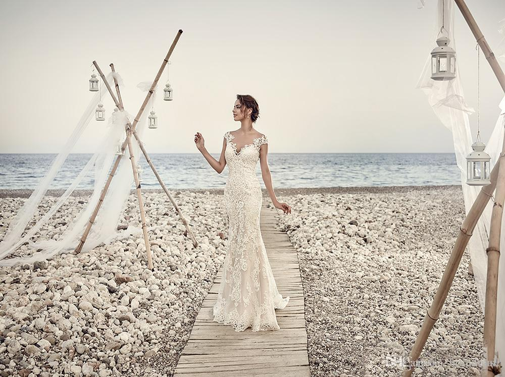 Sheer Ivory Appliques della sirena del merletto abiti da sposa del manicotto della protezione con scollo a V Boho Beach abito da sposa Vintage Wedding Gowns Abiti da sposa