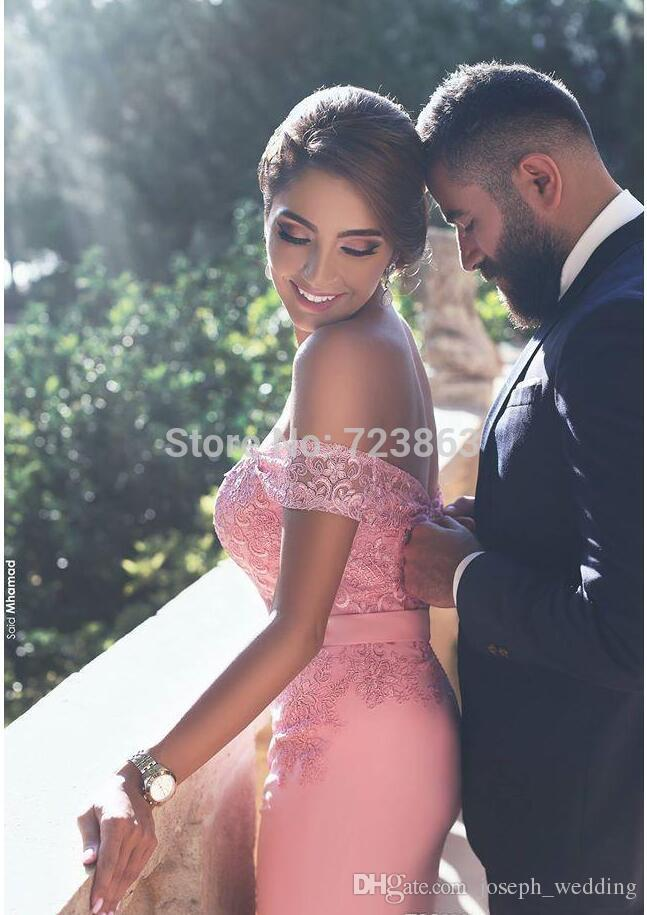 New Arrival Pink Satin Straight Evening Dresses Long Sweetheart Appliques Lace Off Shoulder Sweep Train Formal Party Gowns