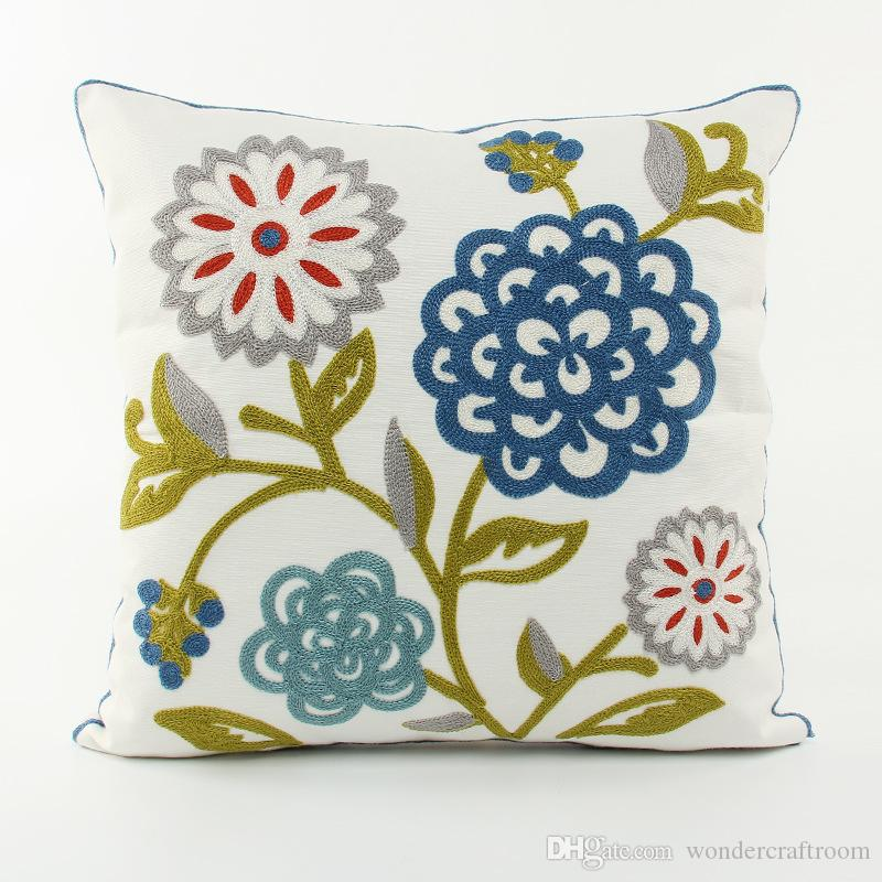 American Pastoral Rural Flower Embroidery Cushion Cover Summer Plant Floral Embroidered Cushion Covers Sofa Throw Decorative Pillow Case