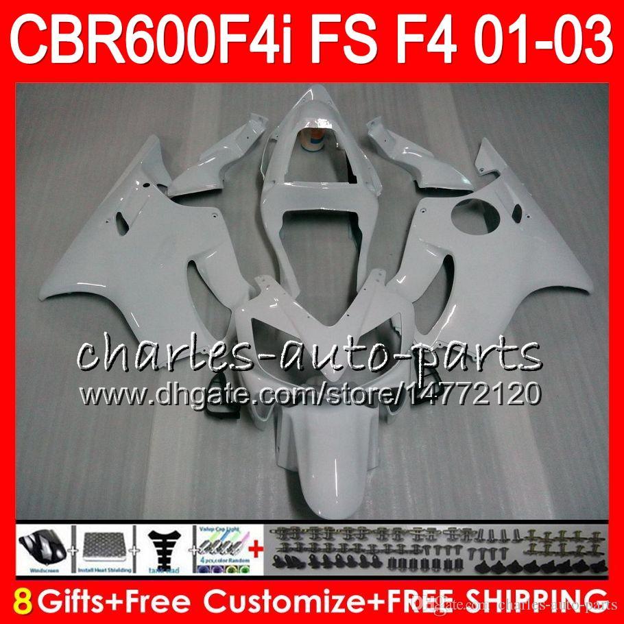 8Gifts HONDA CBR 600 F4i 01-03 CBR600FS FS 28HM25 CBR600 F4i 2001 2002 2003 CBR 600F4i Bianco perla CBR600F4i 01 02 03 Carenatura