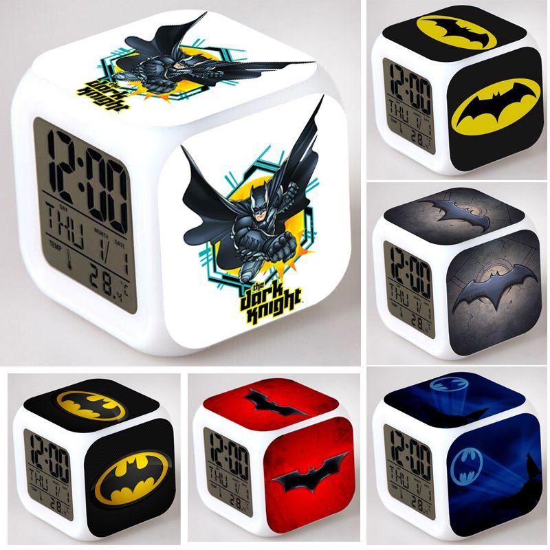 Coloring for Kids kids color changing alarm clock : 2019 LED Change Batman Alarm Clocks Cartoon Print LED Color Changing ...