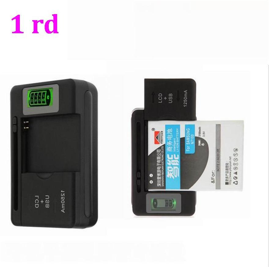 500pcs/lot* 2 in 1 Multi-functional Mobile Universal Battery Charger dock with LCD display Screen For Cell Phones USB-Port